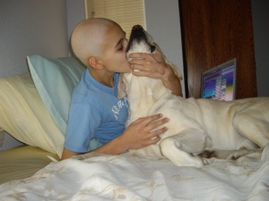 """Larry, our dog, was my """"therapy dog"""" at home."""