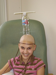 I became the master of balancing things on my head.  This is only one example, a water bottle with a straw carefully placed on top.  The bald head gave me a little (ok, a lot) of an advantage!
