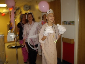 This is the very last day of chemo in the hospital.  I threw a big party in my room, and there was a celebratory parade in the hall!