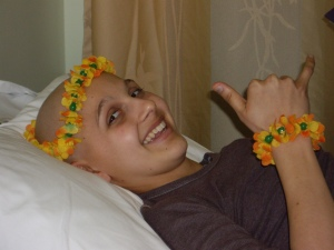 I had to go back for one last outpatient day of chemo, and to celebrate, I went with a Hawiian theme.