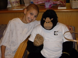 Antonio, my stuffed gorilla, came with me every day to radiation dressed differently.  Here he is sporting his Cottage Hospital shirt.