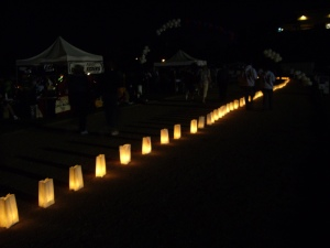 Just a few of the luminaria bags that lit the Relay track in memory or in honor of someone who battled cancer.