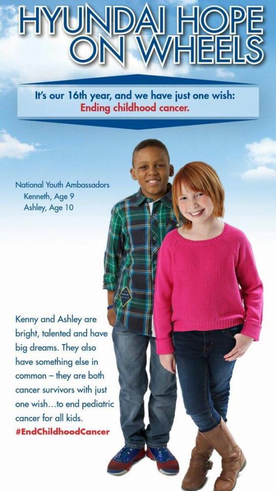 Kenneth and Ashley National Youth Ambassadors for Hyundai Hope on Wheels